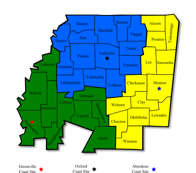District Map Northern District Of Mississippi United States - Us court districts map
